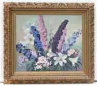 "Mae Bennett Brown (1887-1973) 24""x30"" o/c floral still"