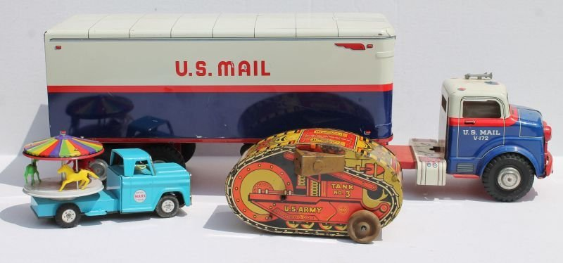 """Lot of 3 Marx toys incl 25"""" long US Mail Truck, 8"""""""
