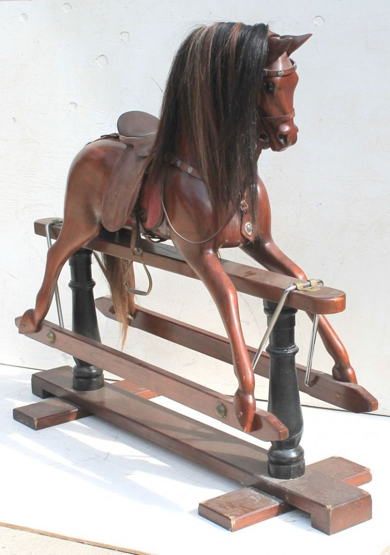 Outstanding quality large wooden carved gliding horse w