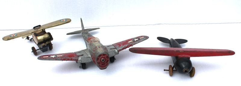 """lot of 3 antique toy planes incl 9 1/2"""" Hubley w"""