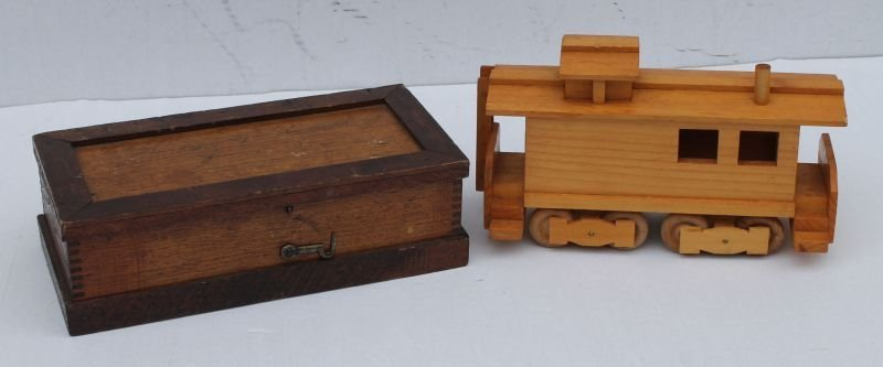 4 pc wooden toy lot incl antique child's tool box, 2