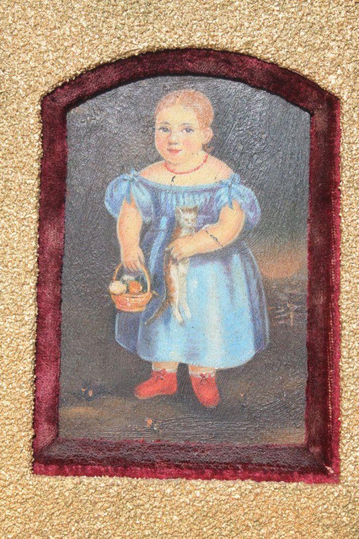 Folk Art portrait of a little girl w cat & flower