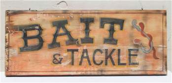 12x28 12 wooden Bait  Tackle trade sign