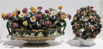 lot of 2 Italian ceramic center pieces w hand painted