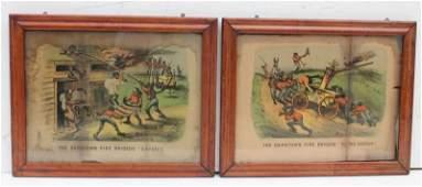 2 19thC Currier & Ives Dark Town Fire Brigade prints -