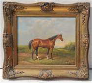 Large oc sgnd G Roy thoroughbred horse in pastoral