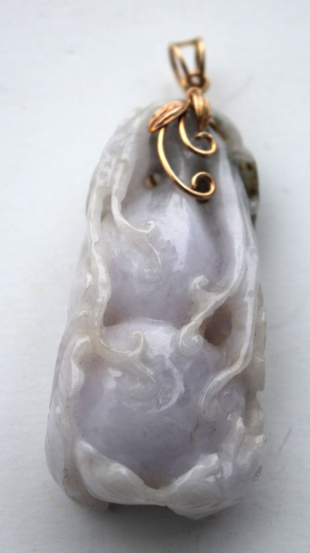 Chinese lavender jade pendant w 14k gold clasp &