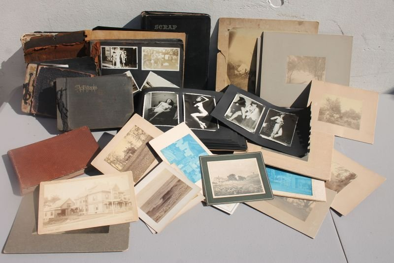Lg antique photographic lot - erotica/pin-ups, cabinet