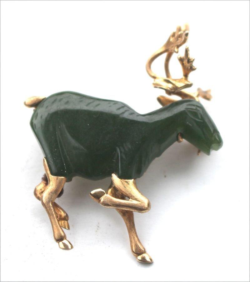 "Chinese jade & 14k gold elk form brooch - 1 1/2"" long x"