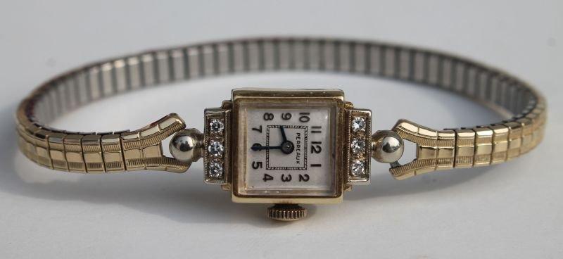Beautiful Perreaux 14k gold & diamond ladiies watch -
