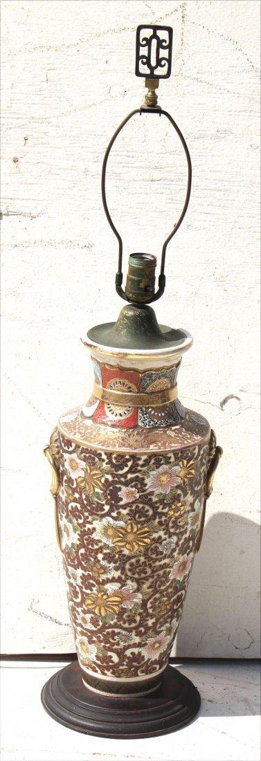 "antique Satsuma table lamp base - 33 1/2"" overall"