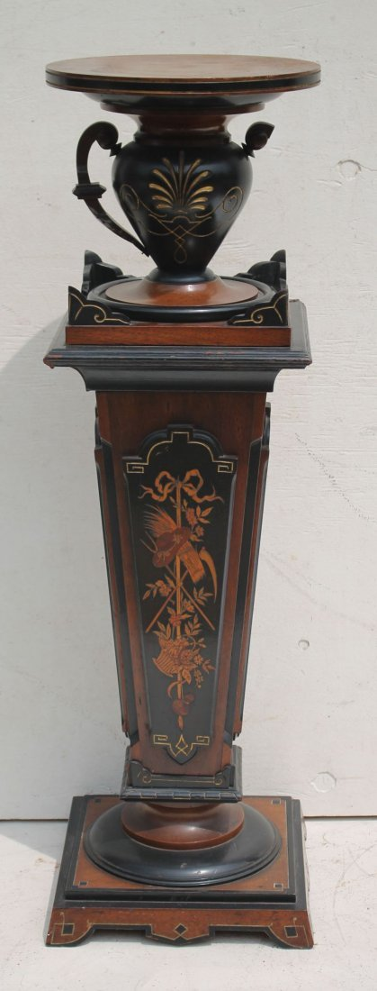 Victorian carved, ebonized, gilded & inlaid pedestal -