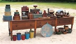 wonderful 19thC maple & pine 12' long table w drawers