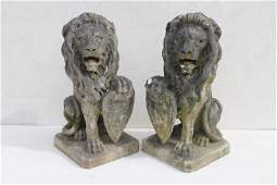 Spectacular pr of 19thC marble carved gate house lions