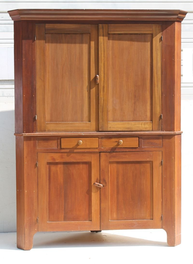 19thC New England 2 pc bracket base corner cupboard w