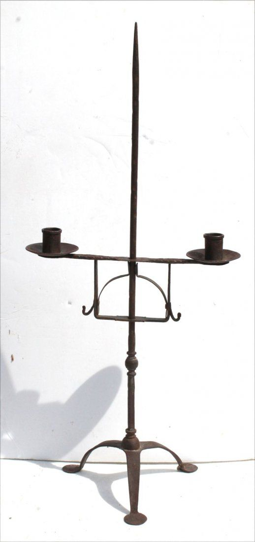 rare American ca 1750 forged iron wonderful form table