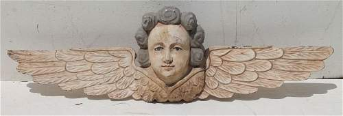 carved wooden orig painted angel wall hanging  37