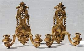 Fine pr of 19thC wood carved  gilded dbl arm wall