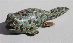 wonderful antique tadpole form wooden carved  orig