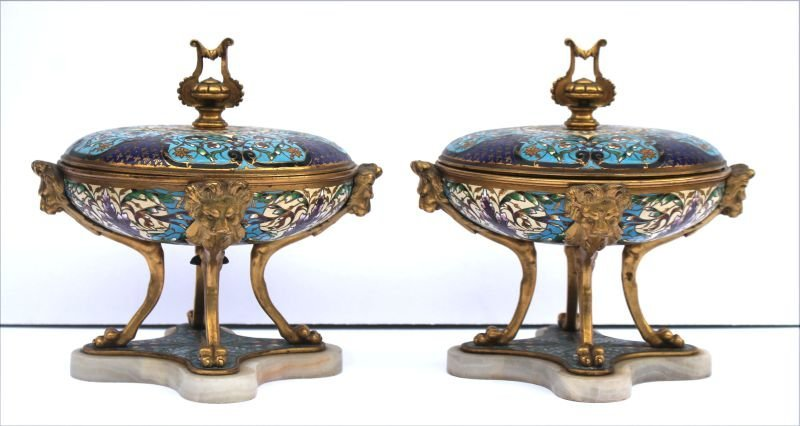 Beautiful pr of antique Cloisonne covered tazzas on