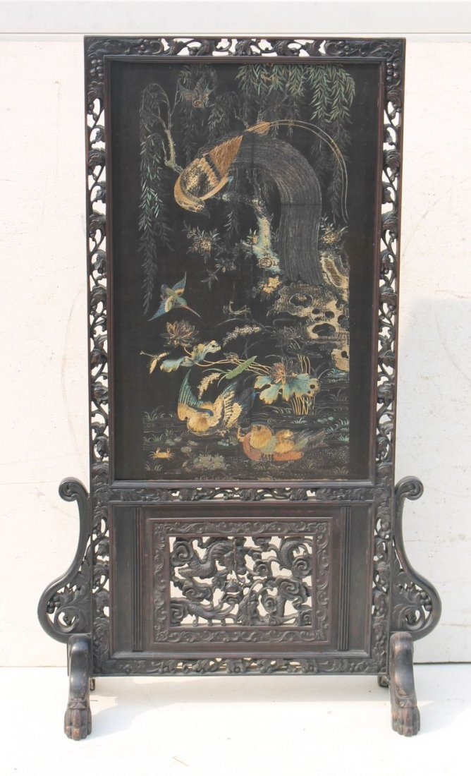Carved Chinese antique screen featuring fine needlework