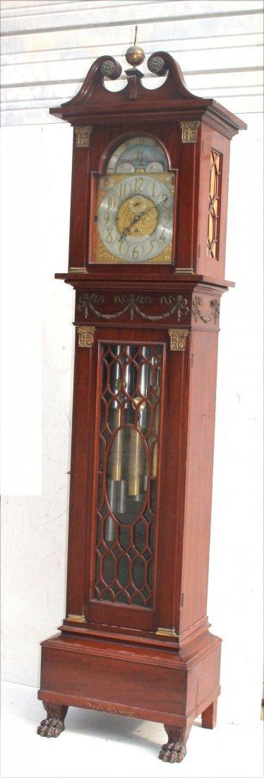 ca 1900 Theodore B Starr NY mahog tall case 9 tube