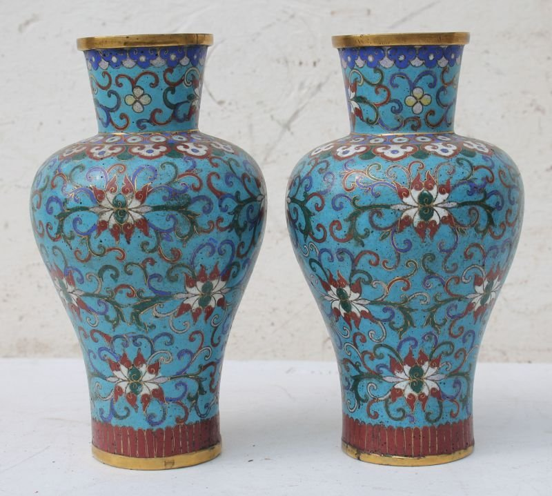 "pr of Chinese Cloisonne 8"" tall vases - Dennis Library"