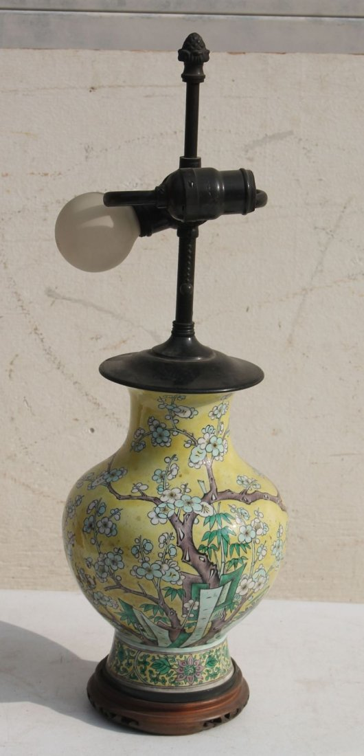 antique Chinese famille jaune porcelain table lamp -