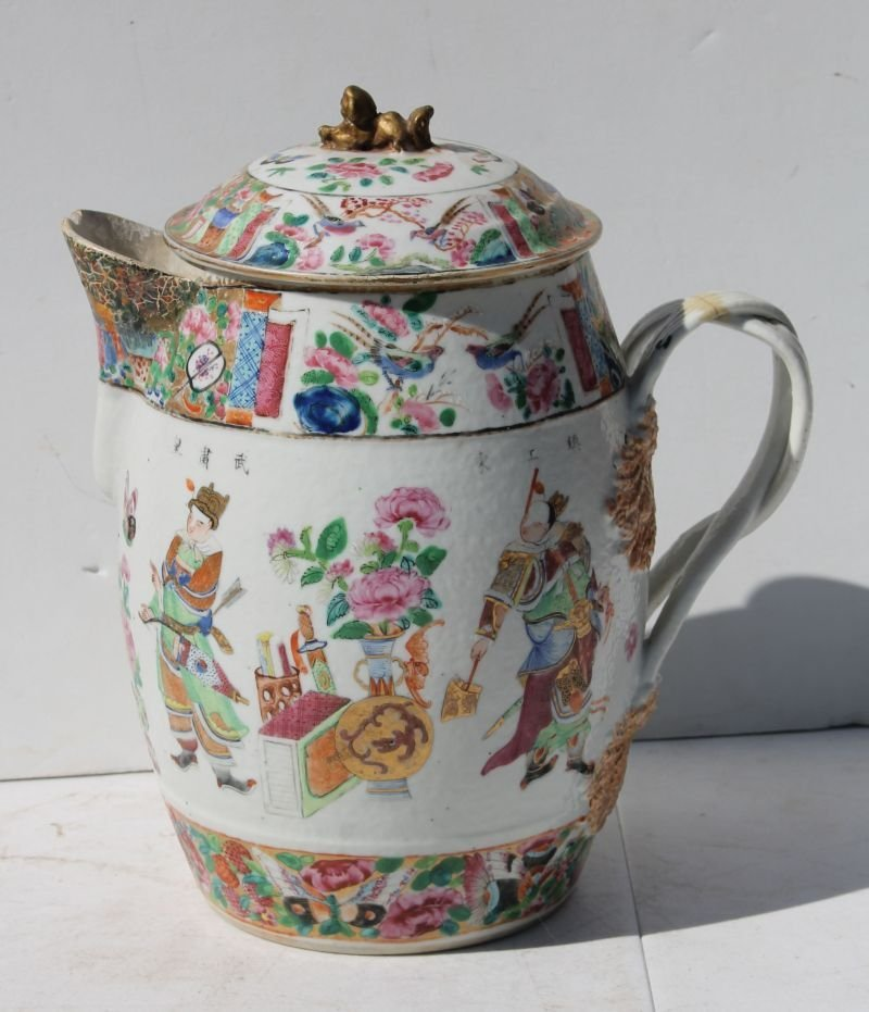 18thC Chinese Export cider jug w imperfections - 10""