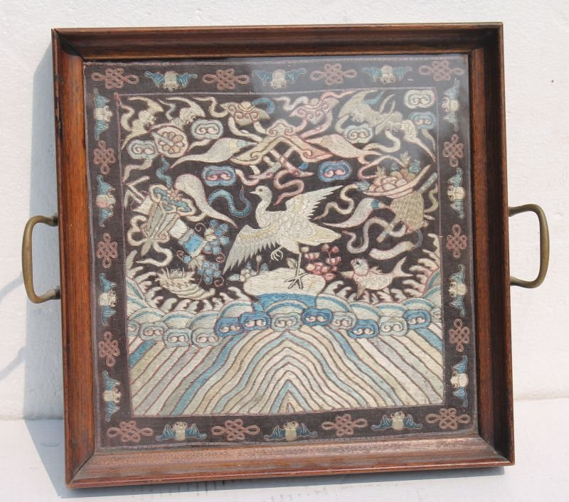 antique Chinese forbidden stitch framed in tea tray -