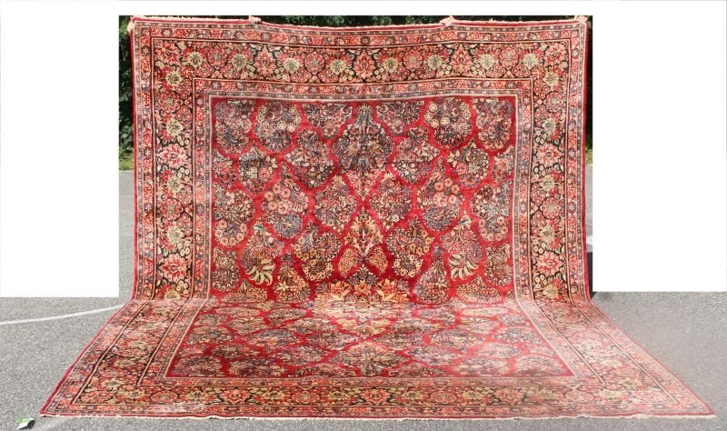 "10'2""x13'6"" antique Persian Sarouk Oriental rm size rug"