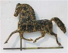 19thC Blackhawk copper running horse weathervane w cast