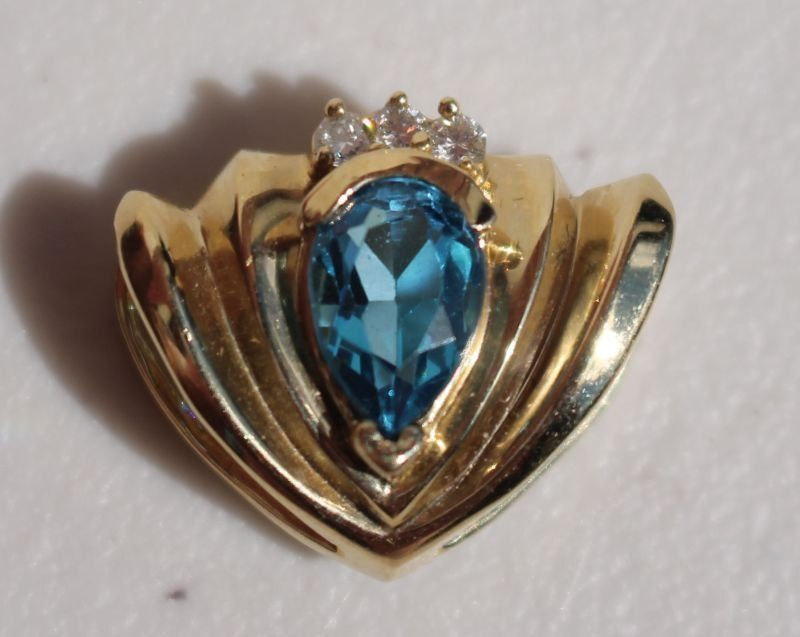 Beautiful 14k gold diamond & topaz slide pendant