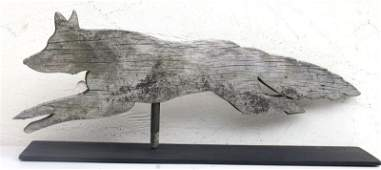 ca 1900 New England pine rare wooden carved fox