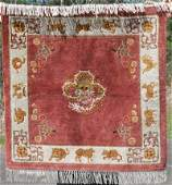 """36""""x37"""" almost square Chinese Oriental rug w animal"""