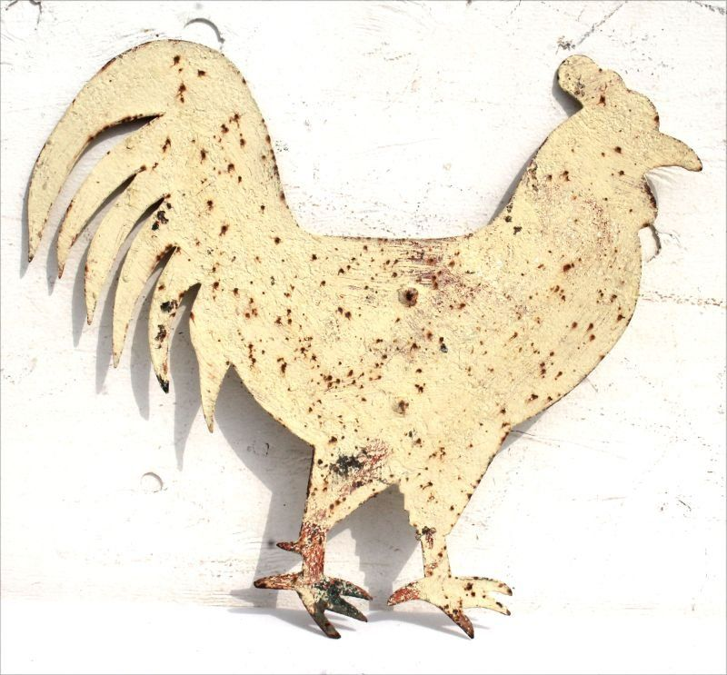 great ca 1900 American graphic form sheet iron rooster