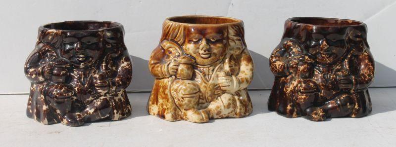 lot of 3 Rockingham/Bennington Toby snuff jar bases (no