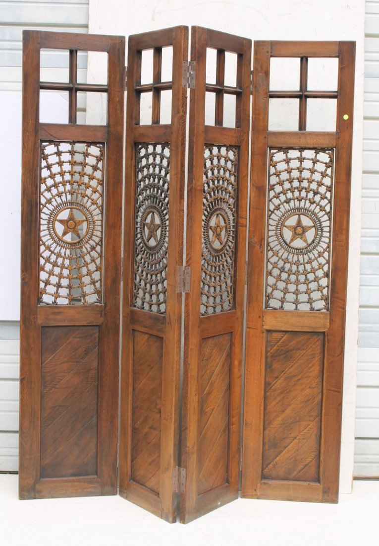 antique carved oak folding 4 panel screen w intricate