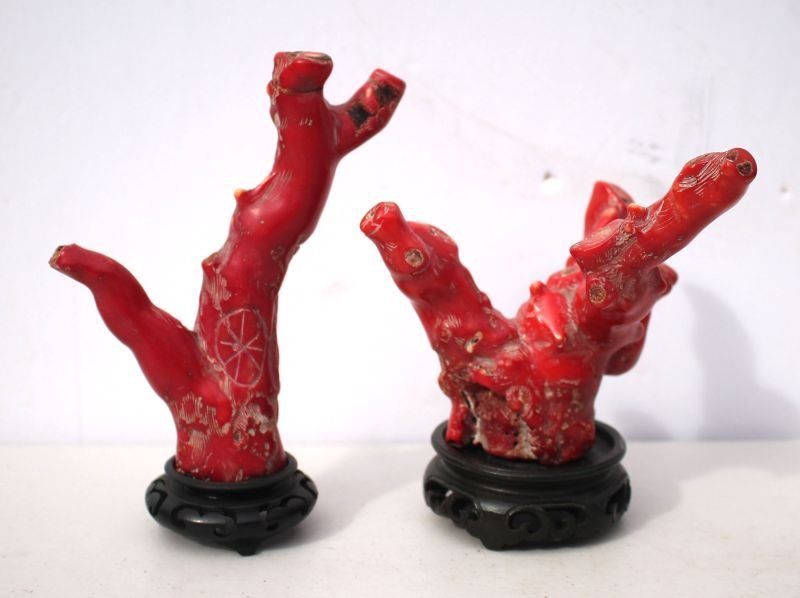 Red Coral branch Chinese Primitive Shoulao figure