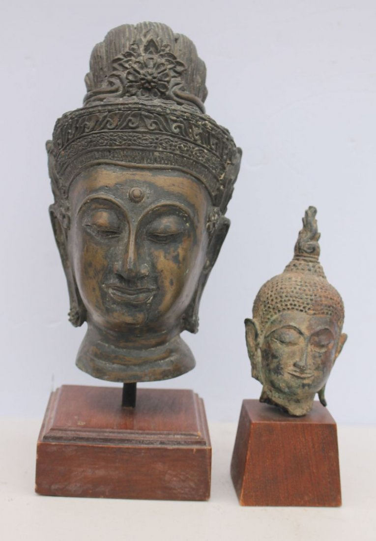 "lot of 2 Tibetan bronze Buddha heads - 8"" tall & 4 1/2"""