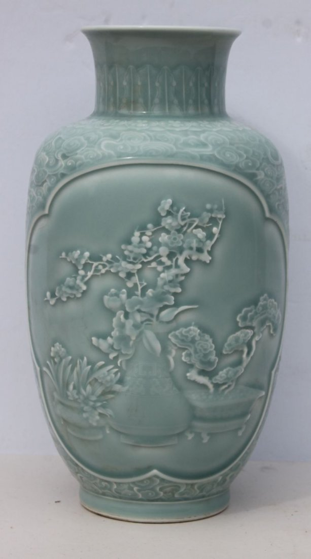 """Blueish/green glazed late 19thC 11"""" tall carved"""