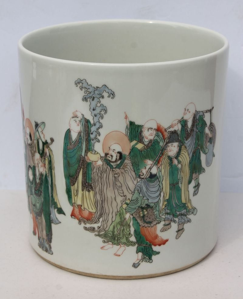 Chinese Famille Verte hand painted porcelain brush pot