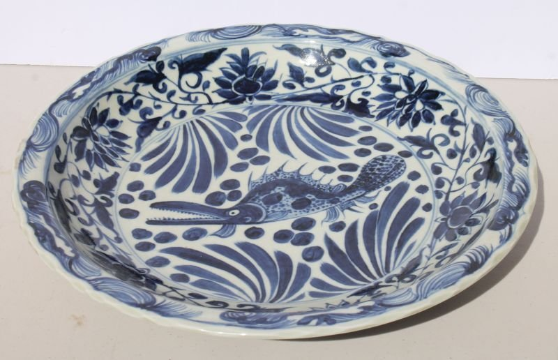 large Chinese blue & white porcelain platter w Chinese
