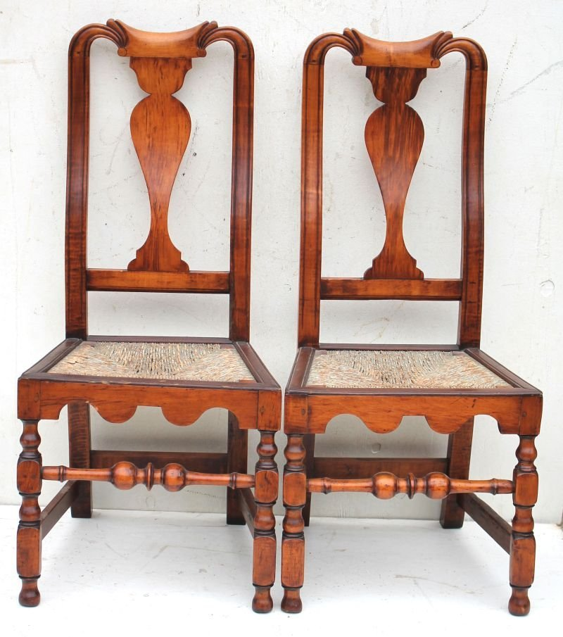 Best pair of early ca 1725 Wm & Mary period tiger maple