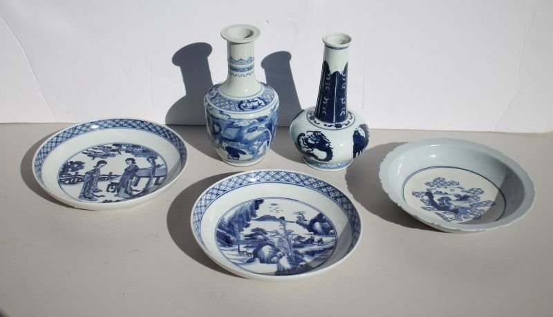 Chinese blue & white porcelain lot incl 3 bowls & 2
