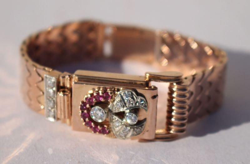 Fine 14k rose gold Art Deco ruby diamond covered watch
