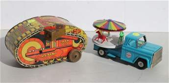 lot of 2 Marx toys incl a tin wind up turnover army
