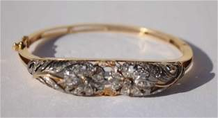 18k Victorian bangle bracelet w rose cut diamonds