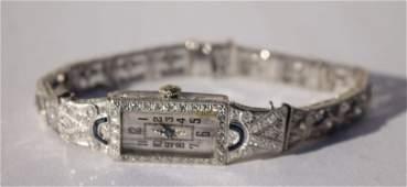 Platinum diamond  sapphire Art Deco watch w 14k