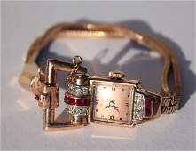 14k gold Art Deco ruby  diamond Gruen watch  weighs
